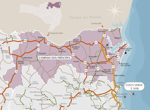 Mapa turístico do nordeste de Santa Catarina