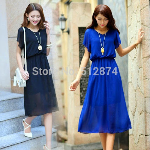 fashion casual women summer dress chiffon dresses large