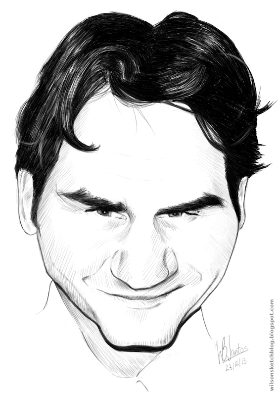 Caricature of Roger Federer, using MyPaint.