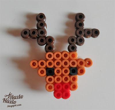 Cómo hacer un broche de reno con hama beads.