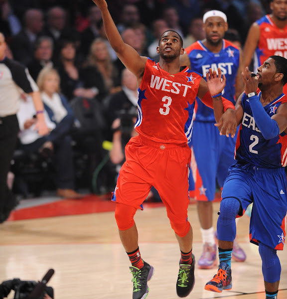 Chris Paul #3 of the Western Conference All-Stars shoots a layup against the Eastern Conference All-Stars during the 2013 NBA All-Star Game presented by Kia on February 17, 2013 at the Toyota Center in Houston, Texas.