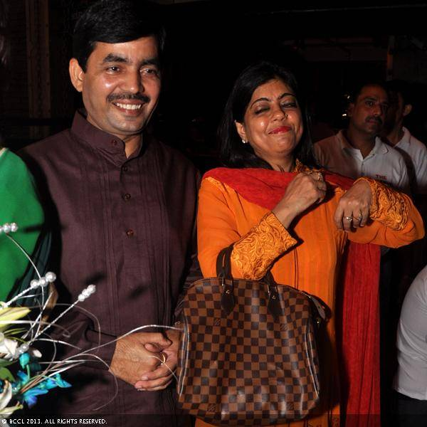 Shahnawaz Hussain and Reenu Sharma during Vani Tripathi's birthday bash, held in Delhi.