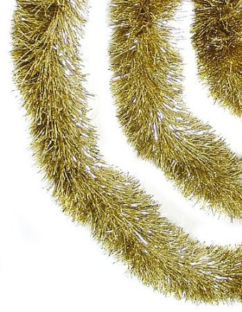 12-Inch Soft & Sassy Gold Christmas Tinsel Garland - Unlit