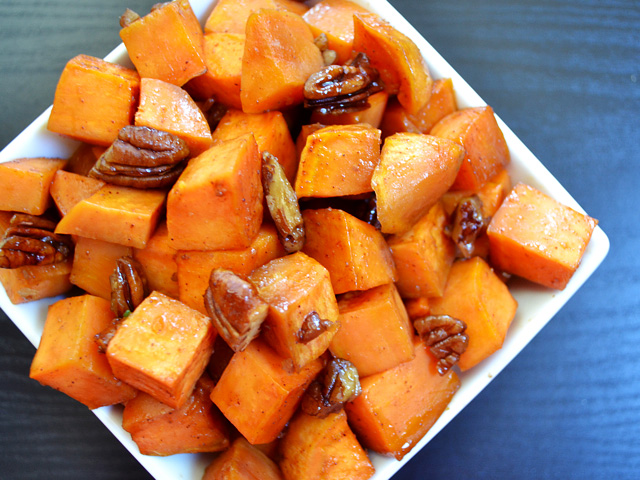 maple roasted sweet potatoes with pecans