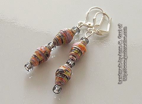 Silver and Grey Paper Bead Leverback Earrings handmade by Anne Gaal of http://www.gaalcreative.com