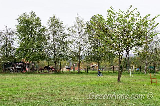 Cansu Alabalık Tesisleri'nin bahçesinde bisiklet sürerken