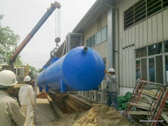 Bể tự hoại composite lắp đặt tại công trình