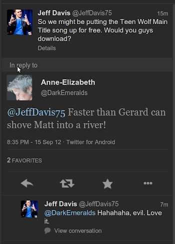 Screencap of a twitter conversation between DarkEmeralds and Jeff Davis in which Jeff Davis thinks DarkEmeralds' statement is evil