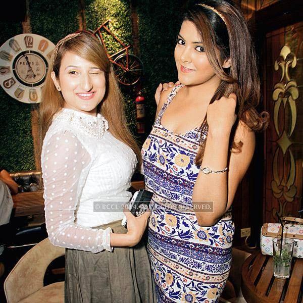 Pooja Motwani (L) and Kriti Dhir during the party at Farzi Cafe, held in Gurgaon.