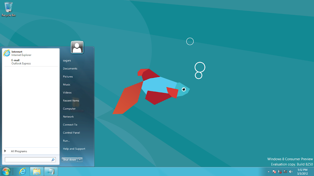 how to bring windows 8 side bar to bottom