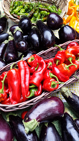Portland Farmers Market at PSU, Eggplants and Peppers