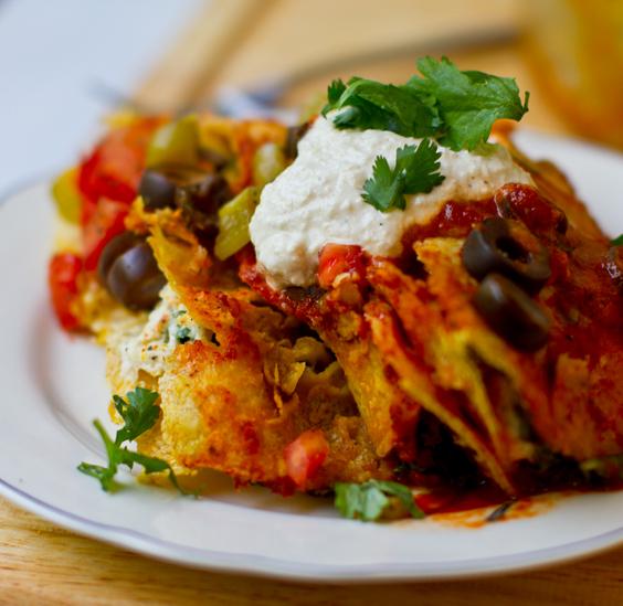Cashew Cheese + Kale Enchiladas Rojas - Vegan Recipe