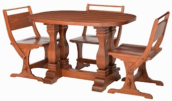 Dane Kitchen Table and Kessel Chairs in Pecan Oak