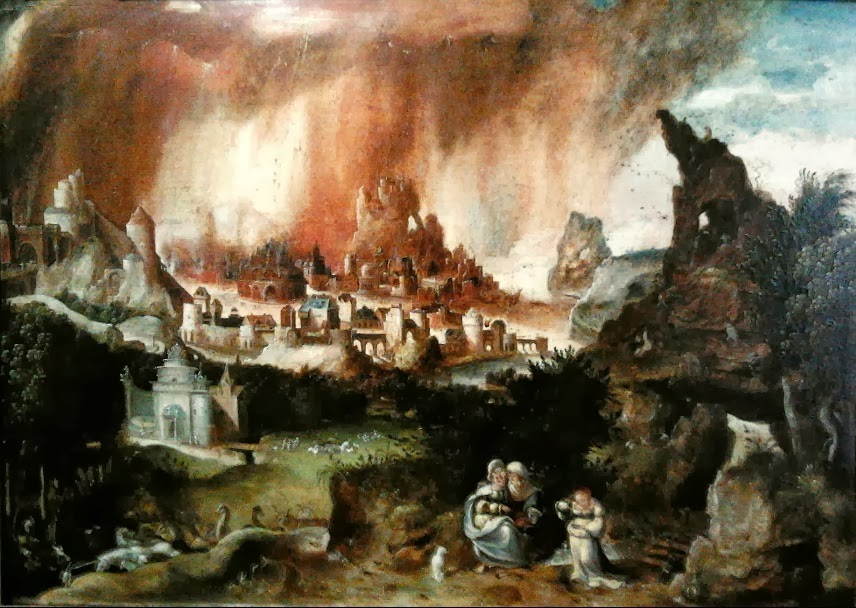 Herri met de Bles - Landscape with Sodom on fire, Lot and his daughters