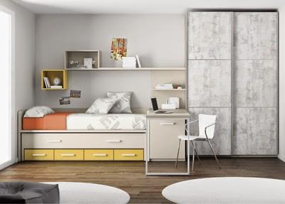 Dormitorios juveniles amarillos e infantiles amarillas - Habitaciones infantiles con dos camas ...