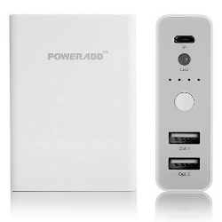 Poweradd™ Pilot X3 Dual-Port Portable Charger Backup External Battery Power Pack with LED Flashlight  - 10400mAh
