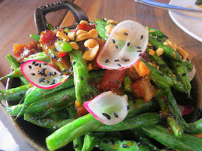 Blistering Blue Lake Green Beans with thai basil, chili sauce, and crispy pork, Manhattan Beach Post restaurant, Manhattan Beach, Los Angeles