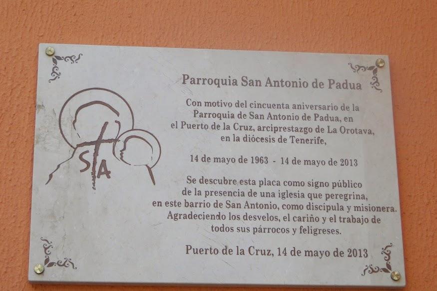 Resultado de imagen de placa 50 años de la parroquia de san antonio. Puerto de la cruz