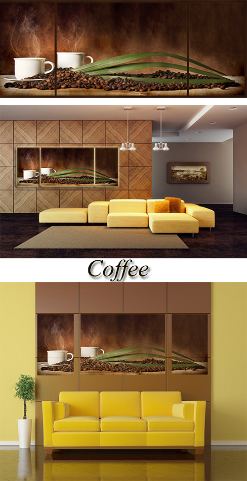 Triptyches, Fourplex - Coffee in cups and coffee grains