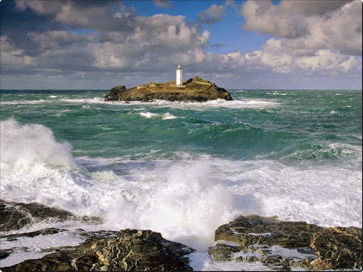 Godrevy Lighthouse and Rough Seas, Cornwall, England.jpg