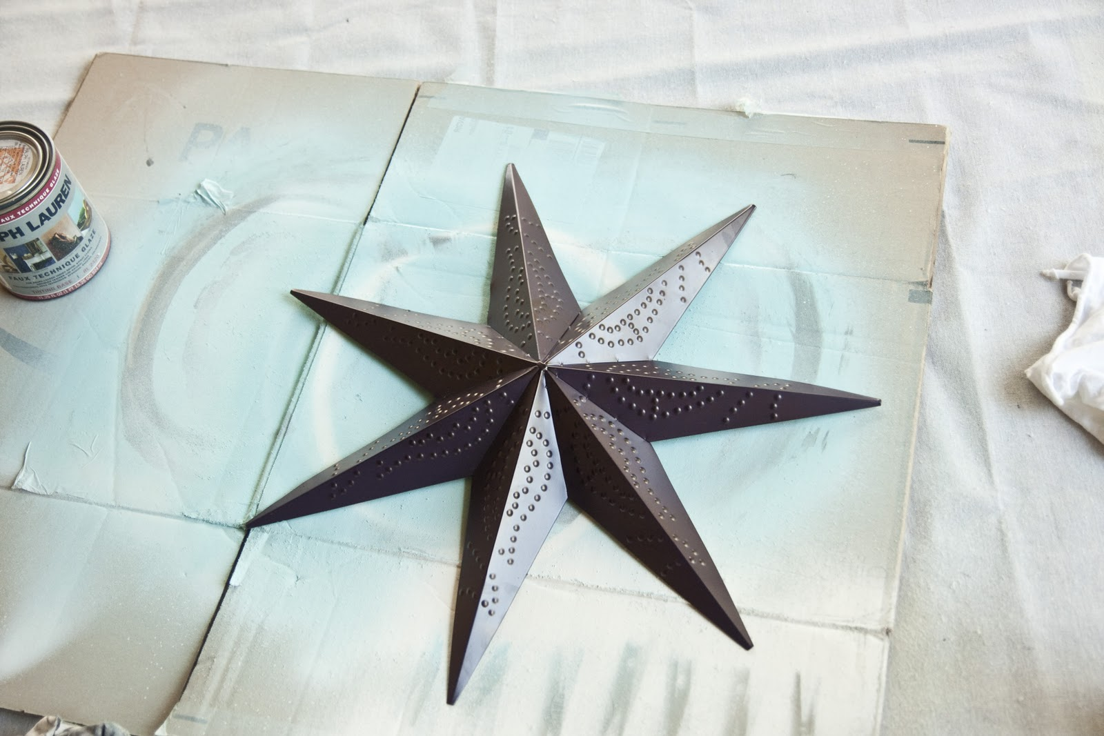 After I got home, I laid out the star on my work surface (cardboard box on a canvas sheet).