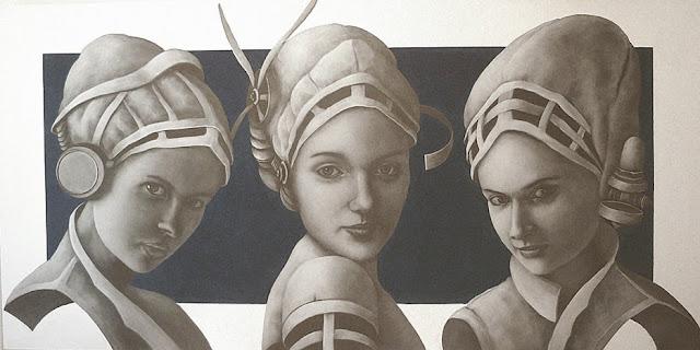 Las tres Gracias,pintura en óleo de Severino de Llanza