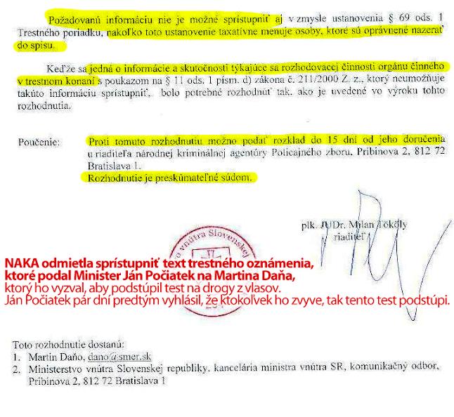Trestné oznámenie, ktoré podal Ján Počiatek zostáva tajné, strana 2