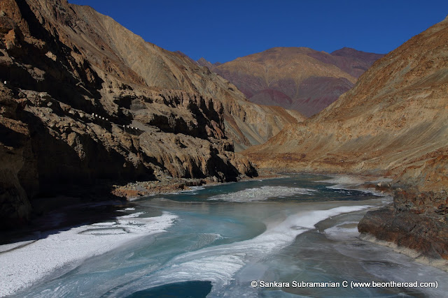 Scenic Zanskar river - beginning to freeze - once completely frozen, the famous Chadar trek on the river begins