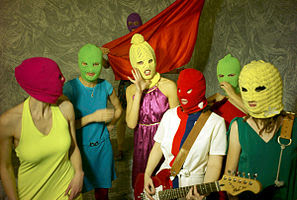 Seven members of the band Pussy Riot