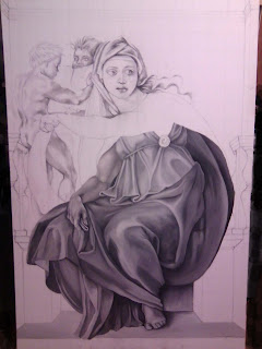 Work in progress at Grisaille underpainting stage, also known as monochrome. Showing full painting with bottom section completed.