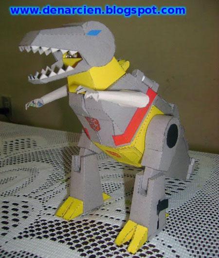 Transformers G1 Grimlock Papercraft TRex Mode