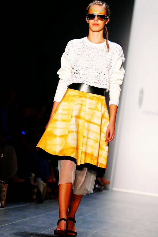 A model presents a creation by Rebekka Ruetz at the Berlin Fashion Week 2014 in Berlin July 8, 2014.