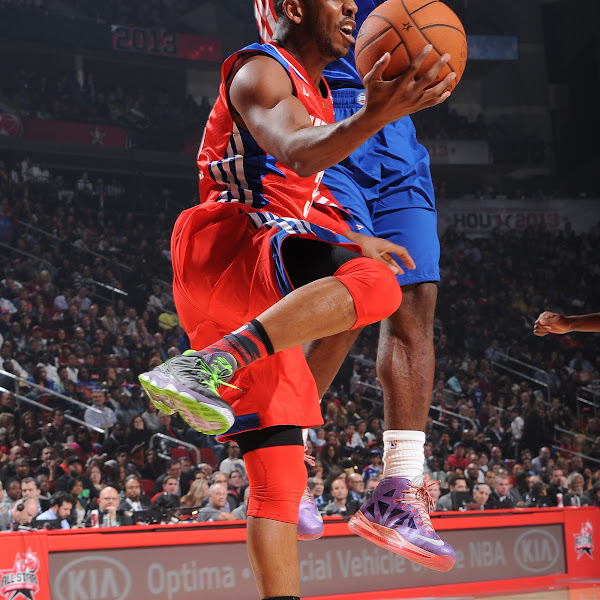 Chris Paul #3 of the Western Conference All-Stars attempts a pass during the 2013 NBA All-Star Game on February 17, 2013 at Toyota Center in Houston, Texas.