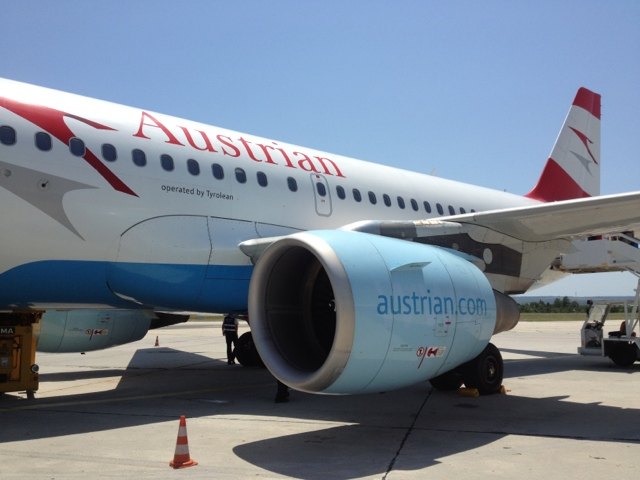 Picture of Austrian Airlines Airbus A319 in Varna International Airport, Bulgaria.