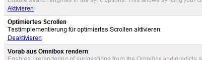 optimiertes Scrolling in Chrome