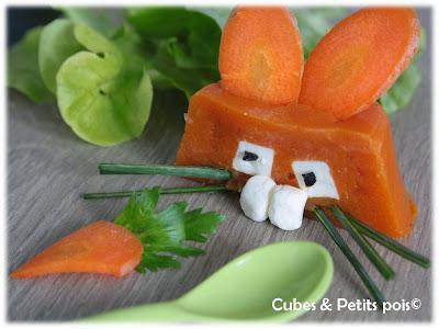 Recette bébé 12 mois lapin de Pâques en purée de carotte au cumin et St Morêt