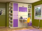 Dormitorios modulares con estanterias, armarios y cama abatible y mesa de estudio