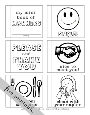 manners coloring pages printables - photo#16