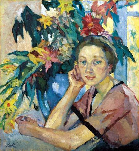 Leo Putz – Mädchen mit Blumen
