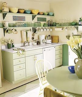 cocina alacenas blanca y verde agua