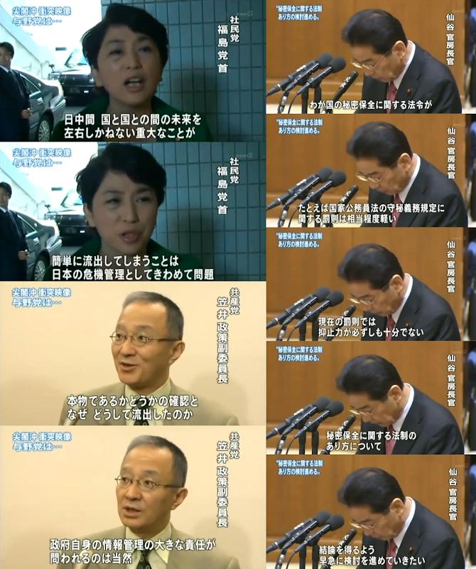 【特定秘密保護法】(尖閣ビデオ流出事件当時)民主党仙谷「国家公務員法の守秘義務規定に関する罰則は相当程度低い」社民福島みずほ「日本の危機管理として極めて問題」