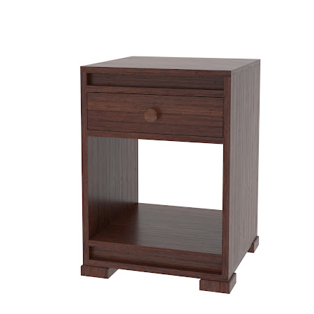 Hillside Nightstand with Shelf, Mocha Walnut
