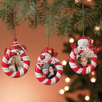 Candy Striped Christmas Tree Photo Ornaments