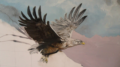 Work in Progress, Colour level 1. Source shows close up of flying eagle