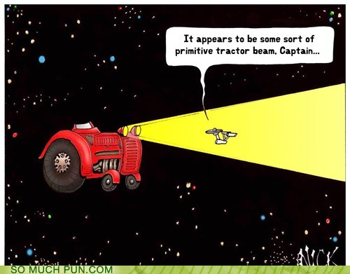 cartoon of the Enterprise caught in the headlight beam of a tractor