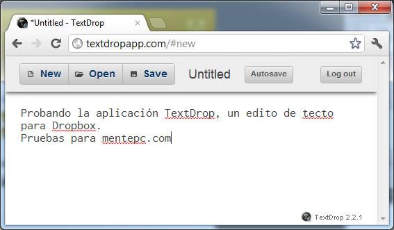 TextDrop para Dopbox