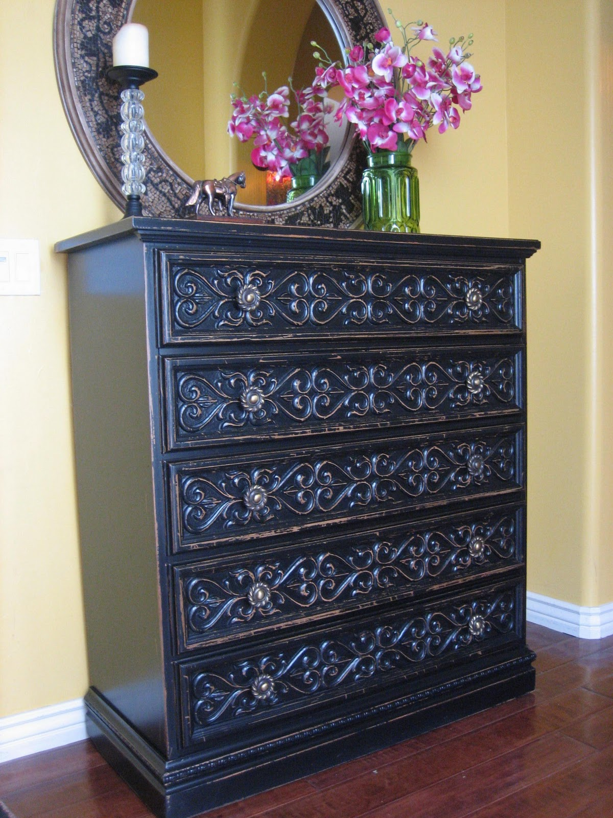 Painting furniture black distressed - Black Carved Dresser