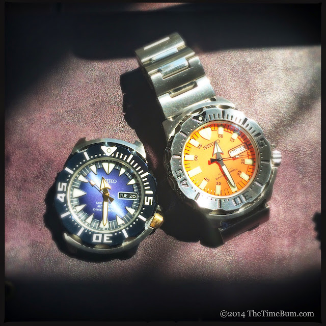 Seiko SRP455 Blue Monster and orange monster