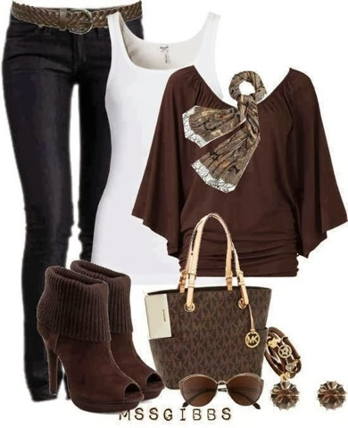 White blouse, brown dress, pants, high heel warm shoes and handbag
