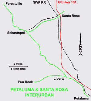 Petaluma & Santa Rosa route with Northwestern Pacific Railroad and U.S. Route 101